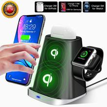 チーワイヤレス充電器 iPhone 用スタンド X XS 8 プラスサムスン S10 プラス充電 Apple の時計シリーズ 4 3 2 1 AirPods