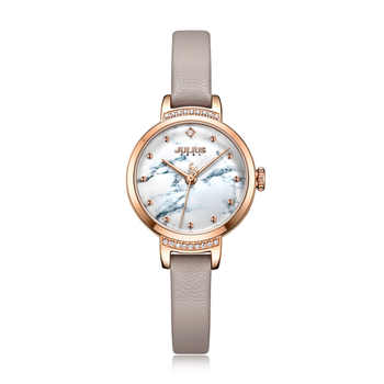 Julius uhr frauen Uhr Rose Gold Modus Kleid Uhr 3D Druck Marbe & Blume Zifferblatt Schlank Lederband Uhr montre JA-1097