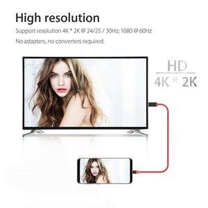 Image 5 - 1.8M סוג C כדי HDMI תואם כבלי USB 3.1 כדי HDMI כבל זכר לזכר עבור Samsung סוג C כדי HDMI תואם AV טלוויזיה מתאם