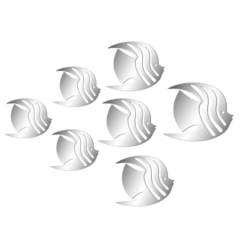 7pcs 3D Adesivi Murali di Pesce FAI DA TE Specchio di Arte Della Parete Della Decalcomania Della Stanza Domestica Della Decorazione