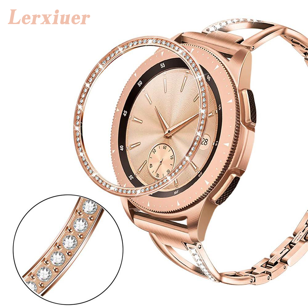 Bling Bezel For Samsung Galaxy Watch 3 46mm 42mm gear s3 Diamond Metal Ring Adhesive Cover Anti watch Accessories s 3 46 mm