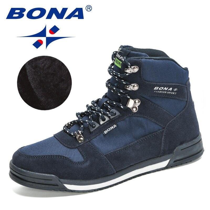 BONA 2020 nouveaux Designers à la main hommes bottes daim chaud cheville neige bottes homme en plein air confortable haut en peluche Masculino chaussures