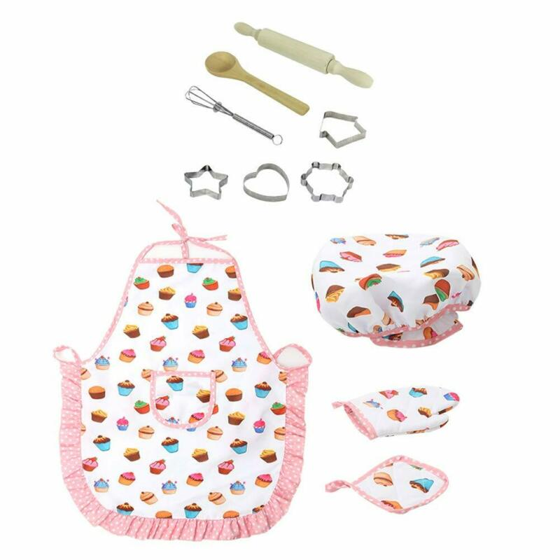 Kids Cooking And Baking Set Kitchen Deluxe Chef Set Costume Pretend Role Play Kit Apron Hat Suit For 3 Years Old Children