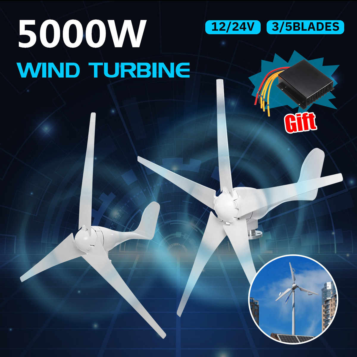 5000W Wind Power Turbines Generator 12V 24V 3/5 Wind Blades Option With Waterproof Charge Controller Fit for Home Or Camping