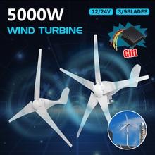 5000W Rüzgar Enerjisi Türbinleri Jeneratör 12V 24V 3/5 Rüzgar Bıçakları Seçeneği Su Geçirmez şarj regülatörü Ev için Uygun veya Kamp