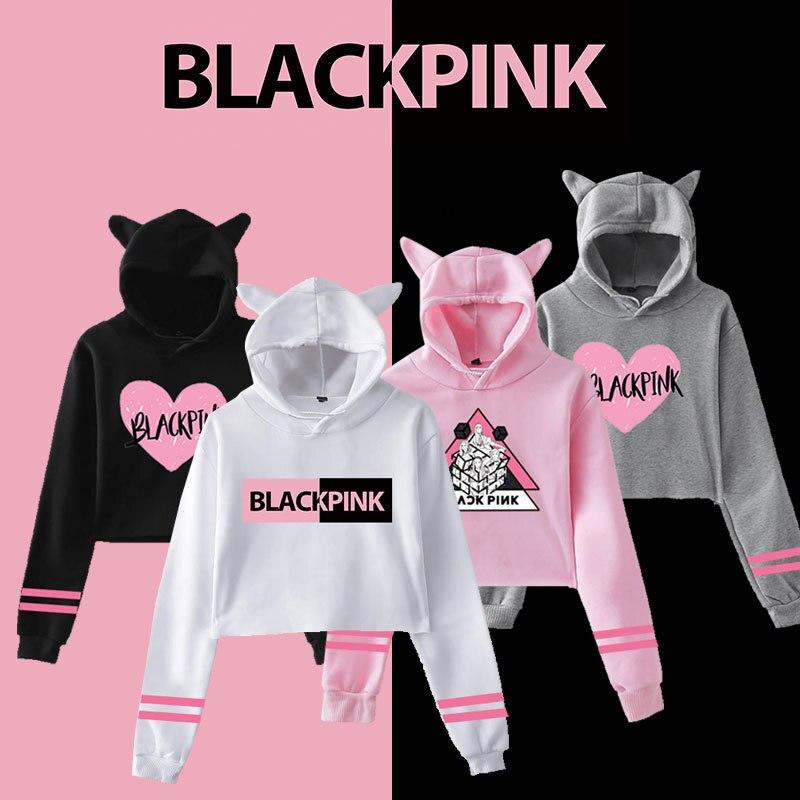 Kpop Women Blackpink Jisoo Lisa Fashion Hooded Sweatshirts Kawaii Casual Long-sleeved Short Cat Ears Girl Pullovers Sweatshirts