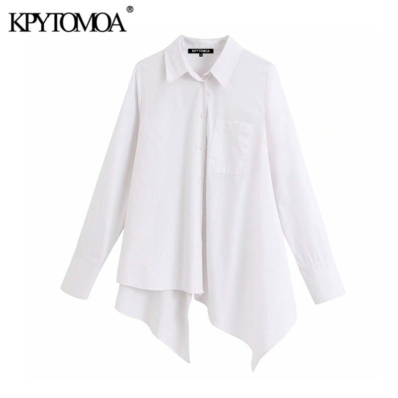 KPYTOMOA Women 2020 Street Fashion Asymmetric White Blouses Vintage Lapel Collar Long Sleeve Female Shirts Blusas Chic Tops