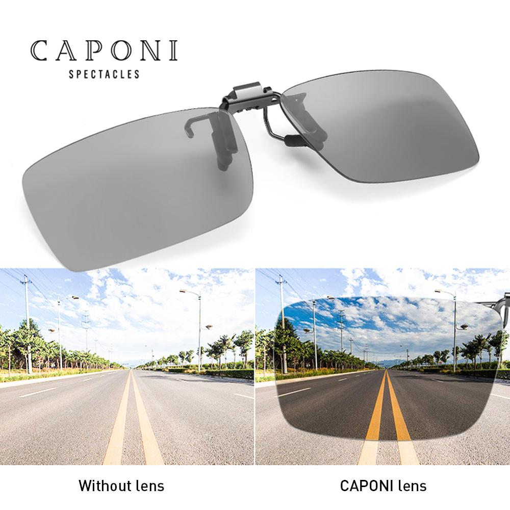 Image 3 - CAPONI Sunglasses Clip Men Photochromic Polarized Vintage Day And Night Eye Glasses Clip UV400 Protect Driving Eyewear BS1101Mens Sunglasses   -