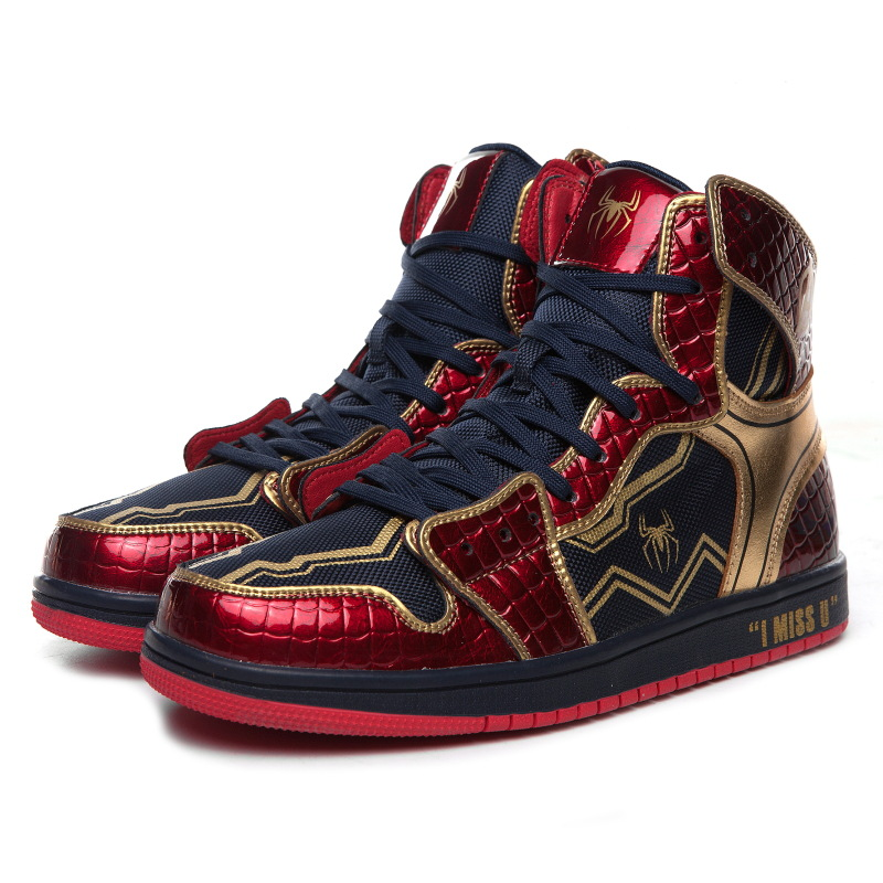 Hot New Iron Man Tony Stark Shoes Cosplay Spider Man Men Women Dunk High Basketball Shoes Fashion Cool Students