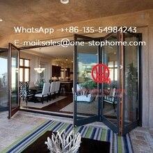 Алюминиевый из двойного стекла раздвижные складные двери для входа, межкомнатные двери