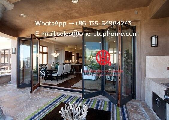 Porte pliante coulissante en Aluminium à Double vitrage pour entrée, porte intérieure