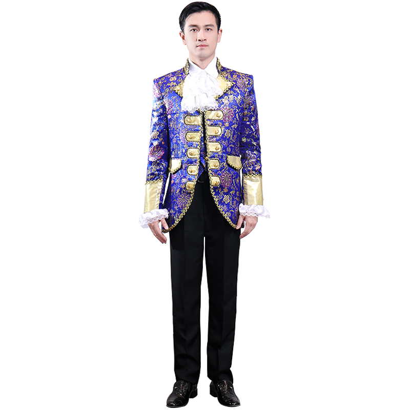 2019 Men's Fashion Gothic Court Clothes Wedding Groom Floral Pattern Stage Singer Party Dance Five-Piece Suit