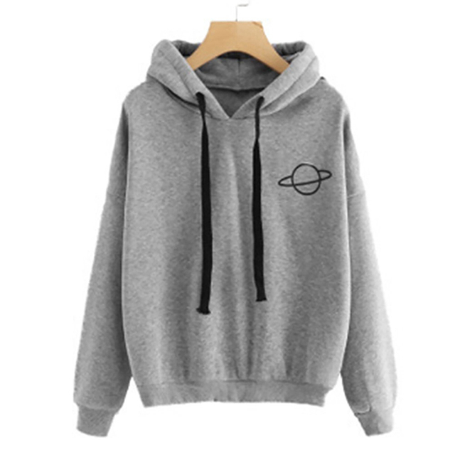 Adisputent 2020 Women Hoodies Casual Planet Print Solid Color Loose Drawstring Sweatshirt Fashion Long Sleeve Hooded Female Tops 10