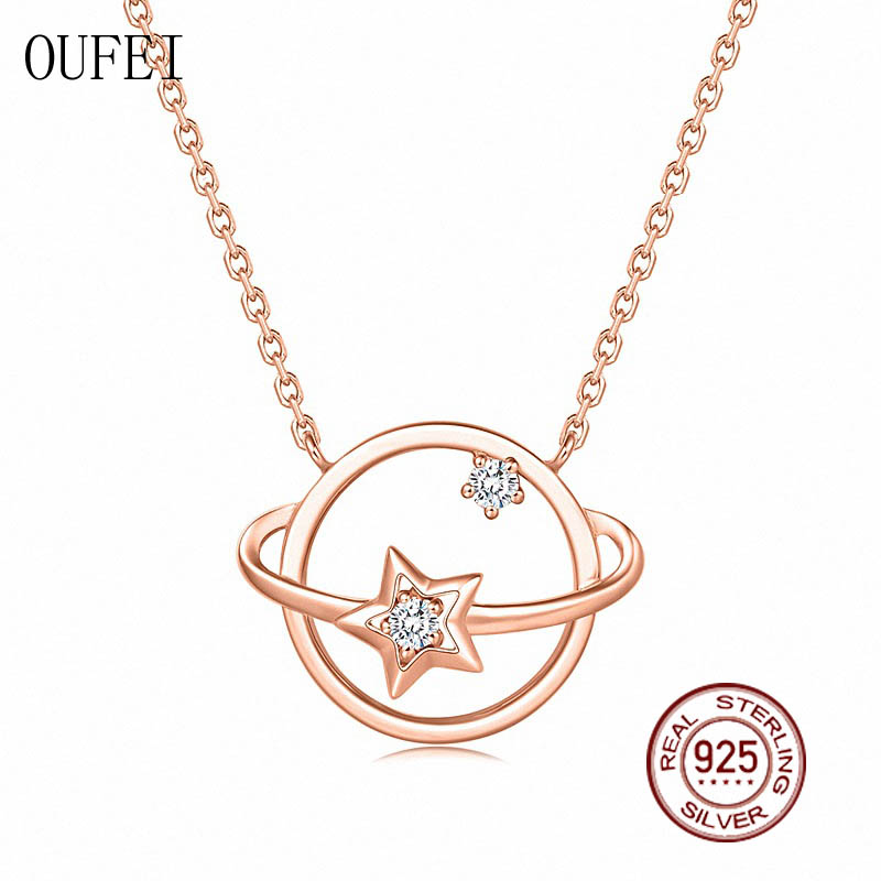 OUFEI Rose Gold Necklace For Women Cute 925 Sterling Silver Necklace Chain Crystal Star Charm Round Necklace 925 Silver Jewelry