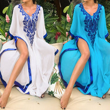 2019 Plus Size Blue Embroidered Summer Beachwear Chiffon Kaftan Beach Woman Tunic Bath Dress Robe plage Swim Wear Cover Up #Q746(China)