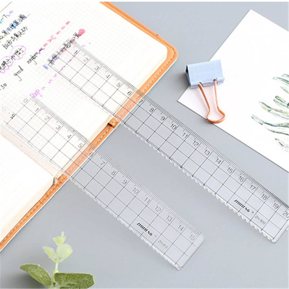 15cm 18cm 20cm Transparent Simple Ruler Acrylic Rulers Learning Stationery Drawing Office Supplies 1PCS