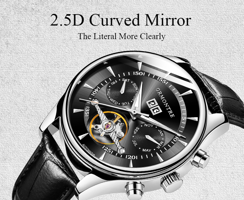 Hc82bf284a7cf465dae36ca78a5f1d879T Skeleton Tourbillon Mechanical Watch Men Automatic Classic Rose Gold Leather Mechanical Wrist Watches Reloj Hombre 2018 Luxury