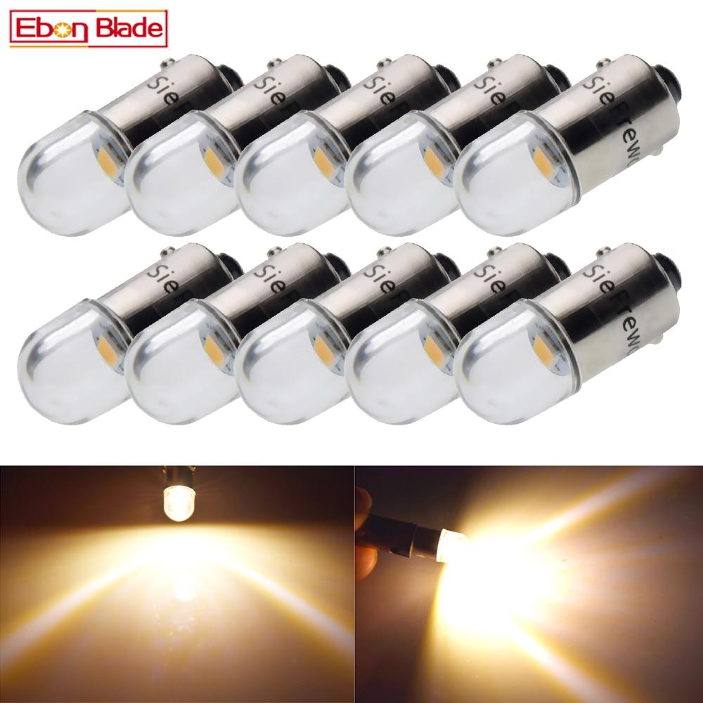 10x 12V BA9S T11 Bayonet 1 LED Warm White Instrument Panel Dash Gauge Light Bulbs