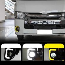 Car 2pcs LED 12V ABS Car fog Lamp DRL Daytime Running Light For Toyota Hiace 2014 2015 2016 2017 2018 with Turn Signal стоимость