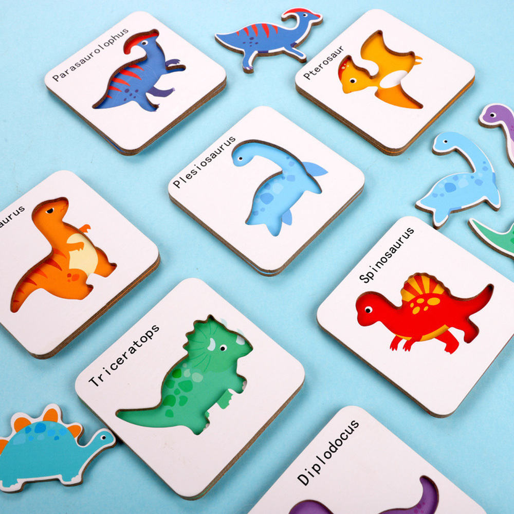Montessori Wooden Toys  Baby Kids Cognition Puzzles Game Cartoon Puzzle Cards Matching Education Game Iron Box N2150
