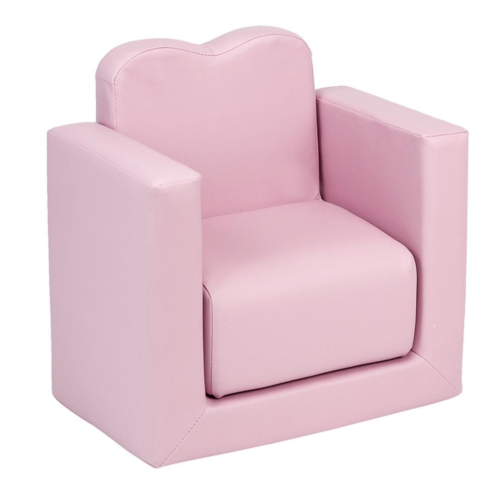 Children Sofa Multi-Functional Solid Wood Sofa Table And Chair Set Pink Color