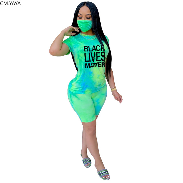 CM.YAYA Women Tie Dye Black Lives Matter With Mask Three Piece Set Tee Tops Shorts Jogger Suit Tracksuit Matching Set Outfit