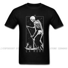 Camiseta con estampado de calavera de La Mort para hombre, ropa de calle con estampado de esqueleto, ropa de algodón para Halloween, camisetas Hipster en color negro