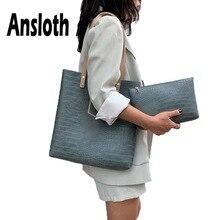 Ansloth Stone Pattern Handbag Lady Luxury PU Leather Hand Bag Women Large Capacity Shoulder Female Fashion Tote HPS689