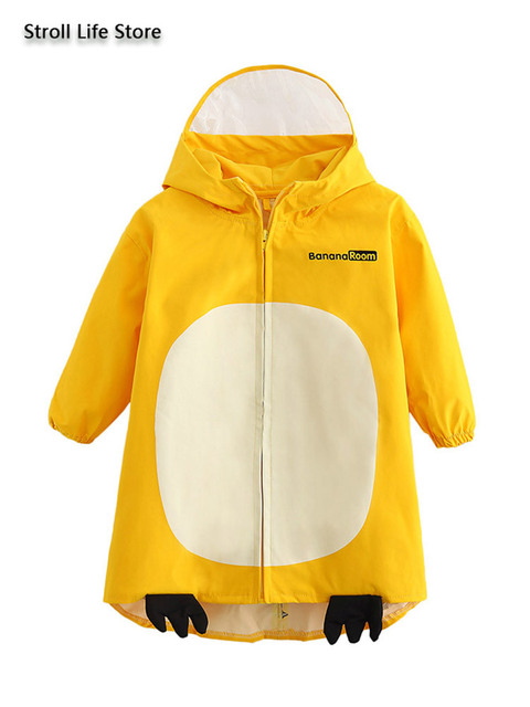Girl Kids Raincoat Yellow Cute Old Pink Cartoon Rain Coat Jacket Long Rain Poncho Waterproof Suit  Dinosaur 2-6 Years Gift Ideas