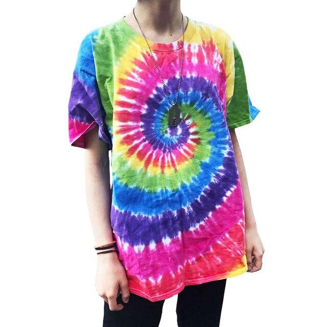 Plegie Tie Dye camiseta Unisex 2019 verano Hip Hop cuello redondo hombres irregulares camisetas con patrón 100% camisetas sueltas de algodón
