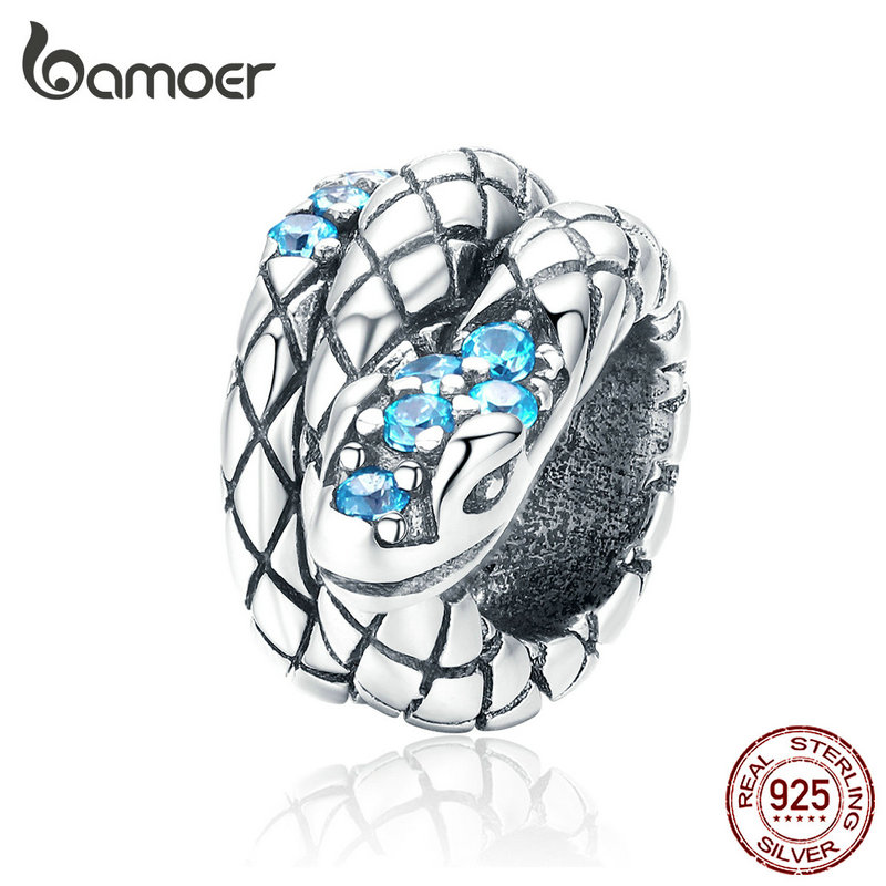 Bamoer Genuine 925 Sterling Silver Jewelry Snake Charm For 3mm Snake Bracelet Retro Style Metal Bead Fine Jewelry SCC1351
