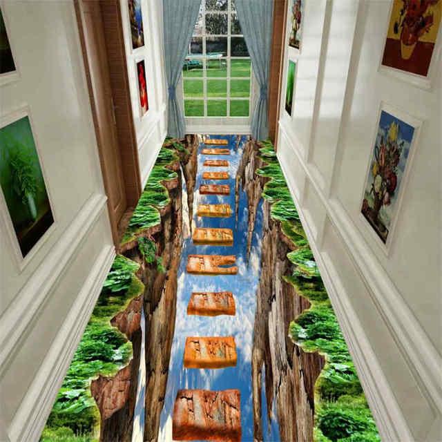 שטיח תלת מימדי בצורת אבני משחק במסדרון