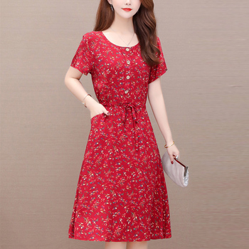 Vintage print women summer dresses 7XL casual o-neck short sleeve floral plus size womens cotton vestidos