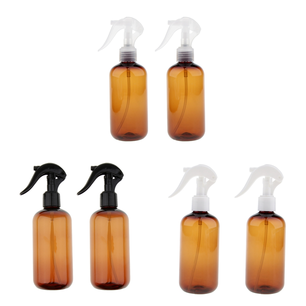 2Pcs Empty Amber Plastic Water Spray Bottle Trigger Sprayer Essential Oil Lotions Containers Refillable 250ml