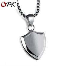 OPK треугольный щит Титановый стальной кулон гладкое мужское ожерелье с жемчужной цепочкой можно лазерной гравировкой