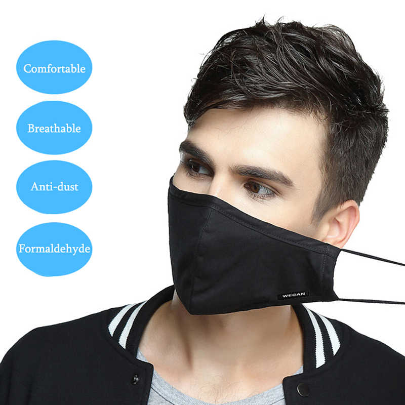 Korean Filter Anti Masks For Mouth Pollution With Cotton Man Black
