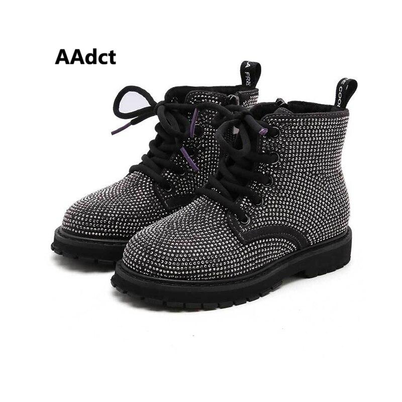 AAdct 2019 Girls Boots New Full Diamond Little Kids Martin Boots For Girls Princess Handmade Children Shoes Winter Warm Cotton