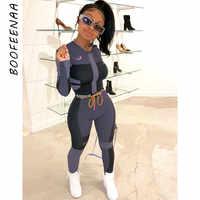 Осенне-зимний сексуальный женский спортивный костюм BOOFEENAA, комплект из двух предметов, спортивные Леггинсы для фитнеса с высокой талией, од...