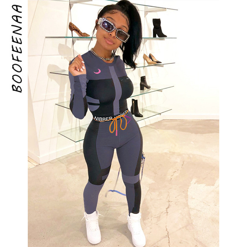 BOOFEENAA Herbst Winter Sexy Trainingsanzug Frauen Zwei Stück Outfits Sport Fitness Hohe Taille Leggings Passenden Sets Sweatsuit C87-AF24