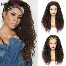 FAVE Half Headband Wig Dreadlock Synthetic Black BrownTurban Wrap Long Afro Curly Wigs Braided Twist Heat Resistant For Women