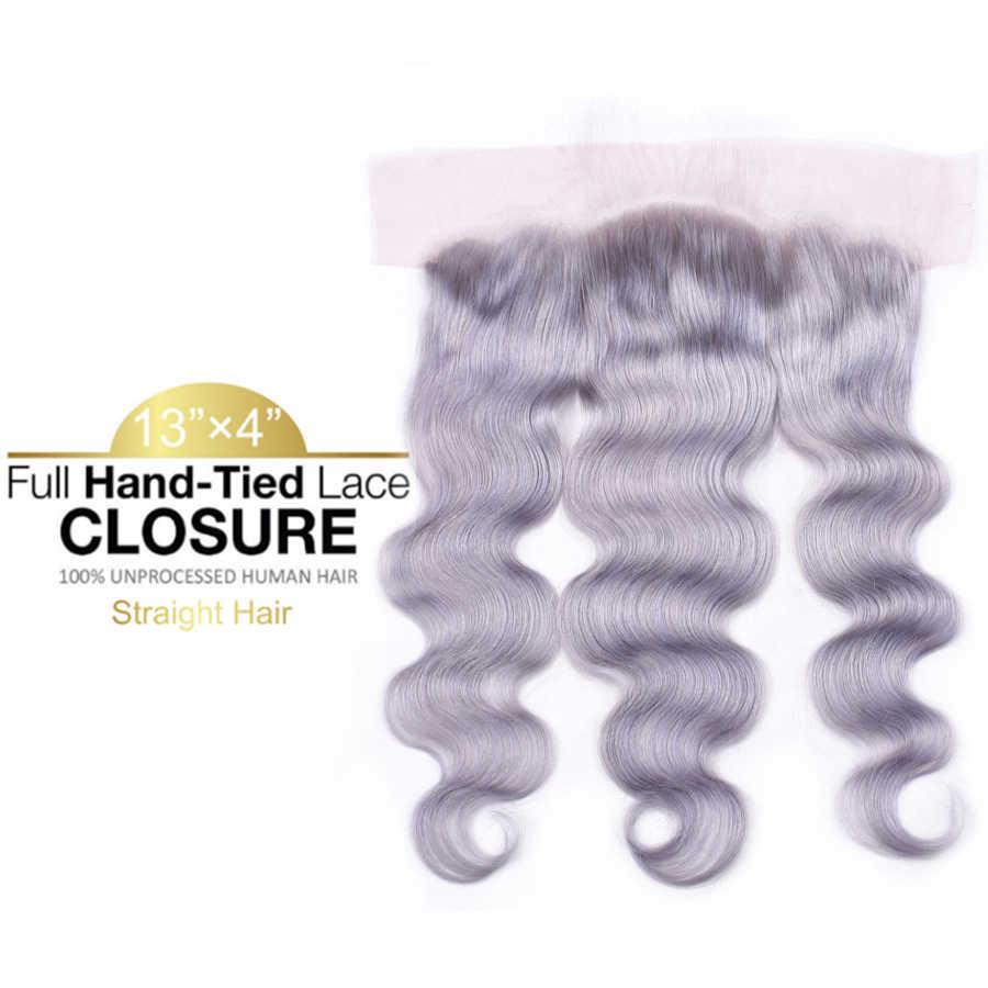 Grau Bundles Mit Frontal Verschluss 13*4 Ohr Zu Ohr Spitze Frontal Peruanische Körper Welle Menschliches Haar Bundles Mit frontal Remy Haar