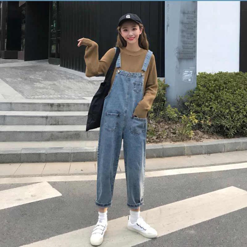 Осенние винтажные Комбинезоны женские s Комбинезон Свободные повседневные джинсовые брюки с нагрудником комбинезоны для женщин комбинезон для высокой талии хлопковые джинсы комбинезон