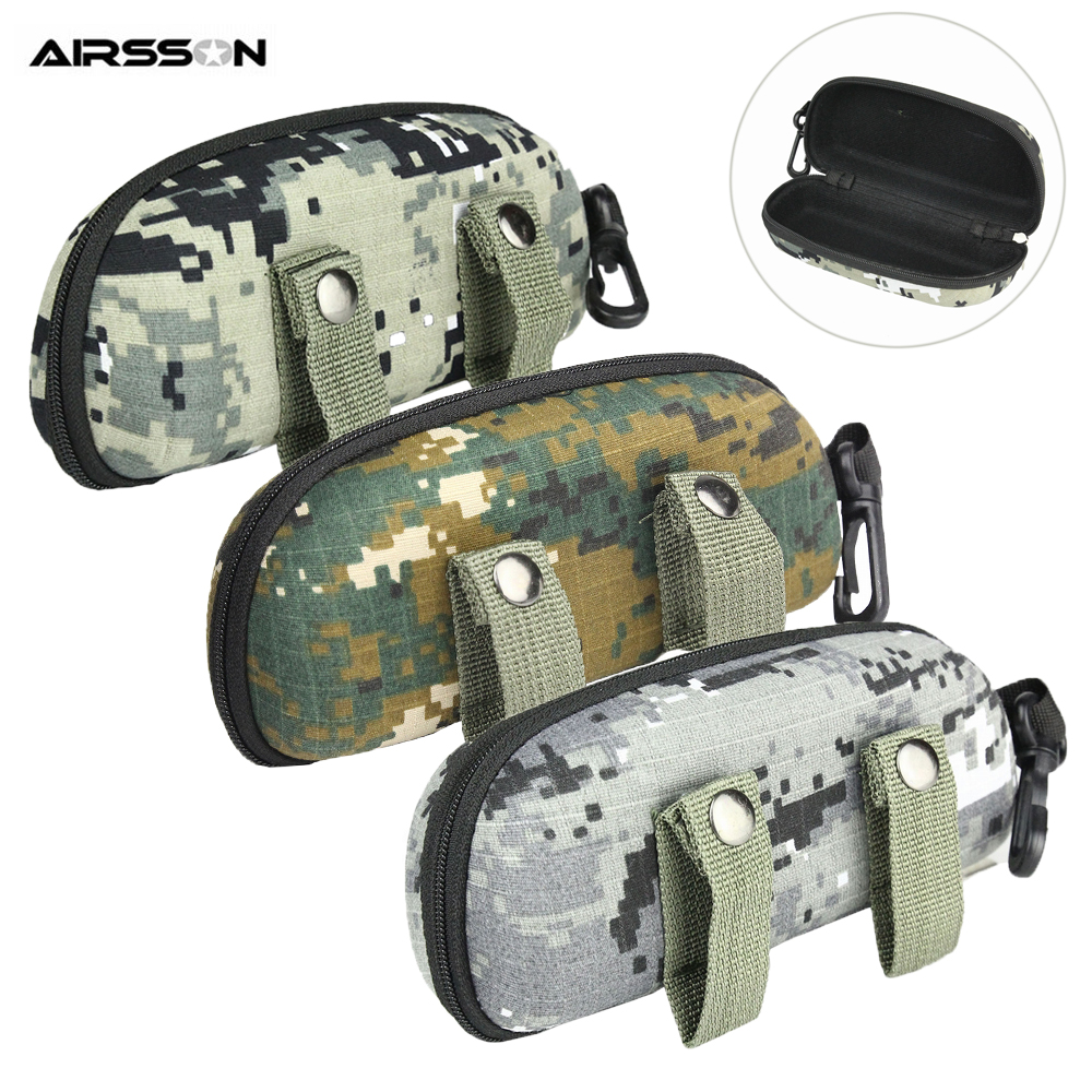 Portable Sunglasses Box EVA Glasses Case Tactical Camo Molle Eyewear Holder With Buckle EDC Pouch Storage Bag For Outdoor Sports