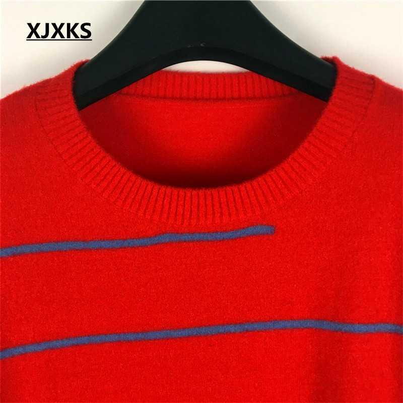 Xjxks Baru 2019 Musim Dingin Musim Gugur Pullover Sweater Wanita Jumper Korea Bergaris Lengan Panjang Plus Ukuran Rajutan Tops Sweater