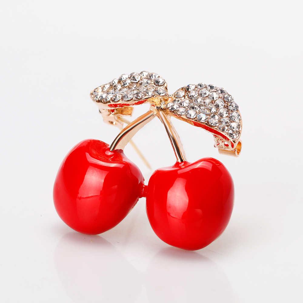Apple de uva Pino apple cereza fresa broches para las mujeres esmalte de moda broches con diamantes de imitación comida fruta pines pernos de La Broche