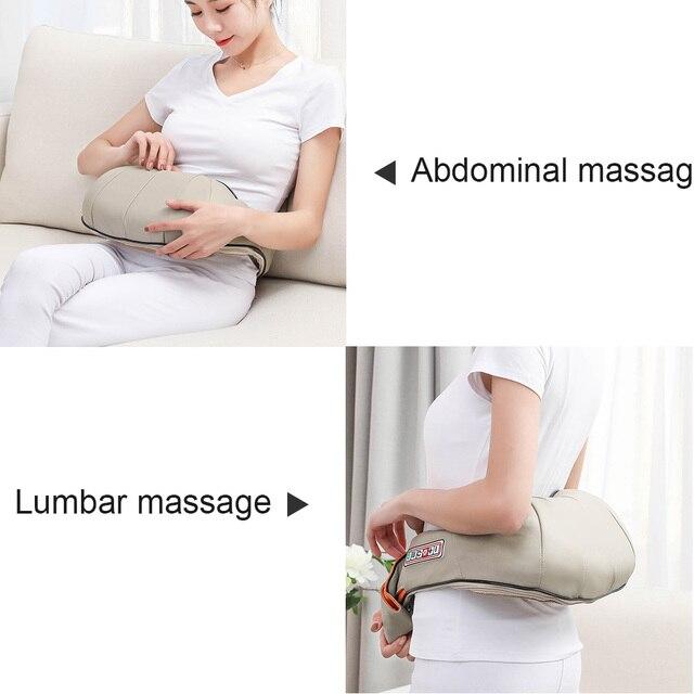 Masaje eléctrico Shiatsu espalda hombro cuerpo cuello masajeador chal multifuncional infrarrojo masaje caliente coche/hogar masajeador