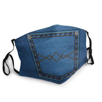 Denim Blue Jeans Pocket Reusable Face Mask Fashion Vintage Stylish Anti Haze Anti Dust Protection Cover Respirator Mouth Muffle