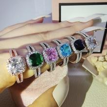 2021 neue Grün Blau Schwarz Rosa 925 Sterling Silber, Verlobung, Hochzeit Ring für Frauen Finger Spezielle Design Schmuck R1507X