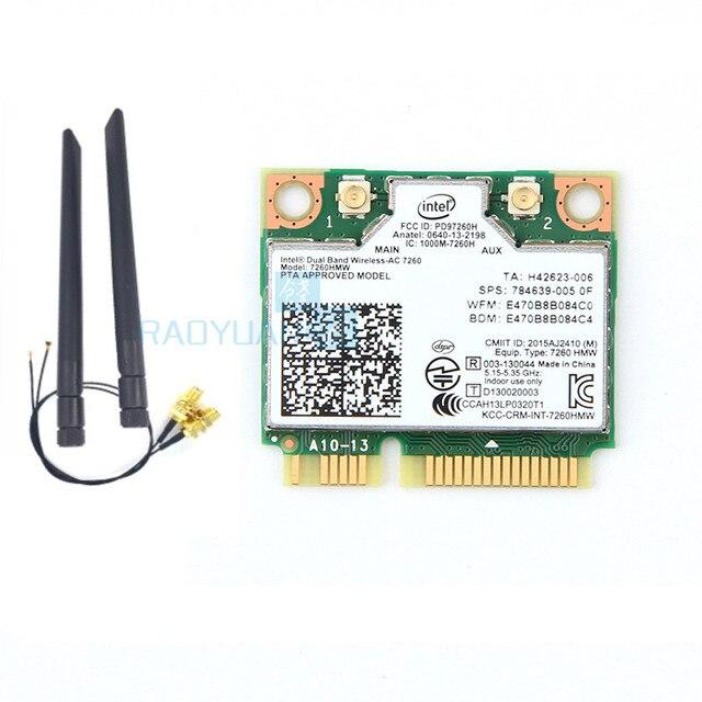 AC карта для Intel Dual Band Беспроводной-AC7260 7260HMW 7260AC 7260HMWAC 867 Мбит/с + bluetooth4.0 Половина Mini PCI-e Беспроводной Wi-Fi кард