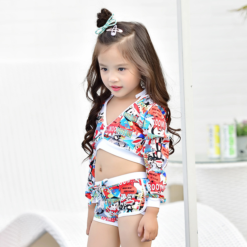 KID'S Swimwear GIRL'S Three-piece New Style Cartoon Pattern Sweet Swimwear Hipster Two-piece Swimsuits Bikini